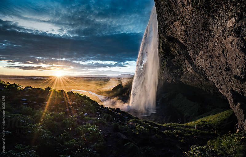 Icelandic waterfall Seljalandsfoss by Andreas Gradin for Stocksy United