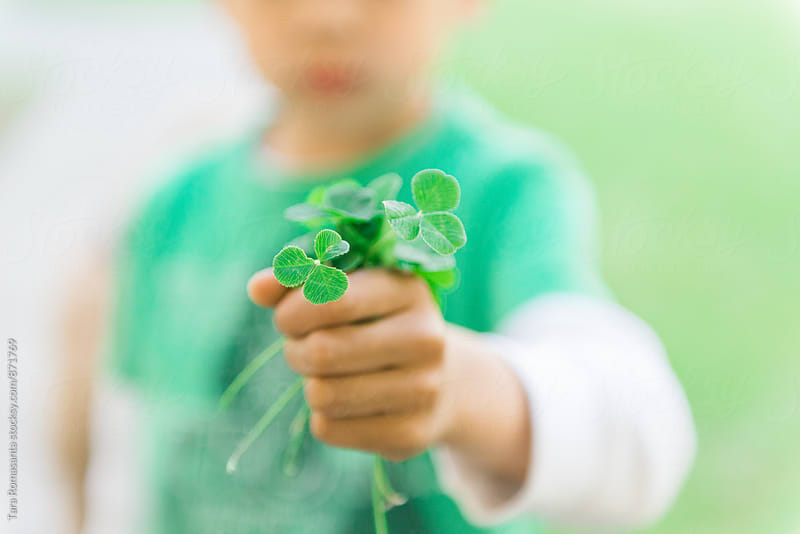 young child holding a fistful of clovers by Tara Romasanta for Stocksy United