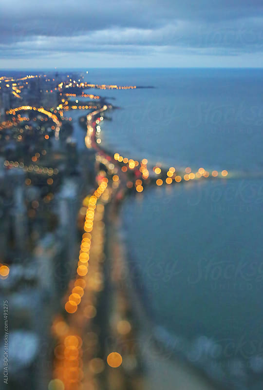 Abstract View Of Chicago and Lake Michigan At Night by ALICIA BOCK for Stocksy United