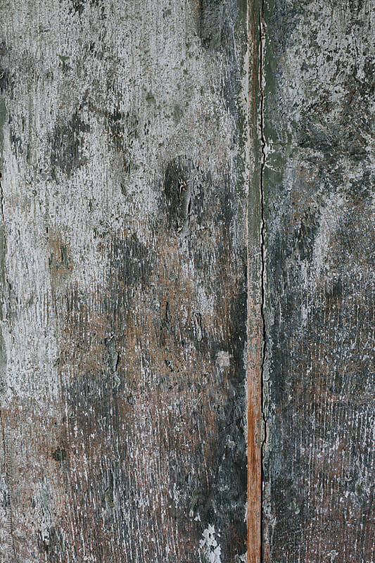 Background texture of a grungy weathered wood door by Amir Kaljikovic for Stocksy United