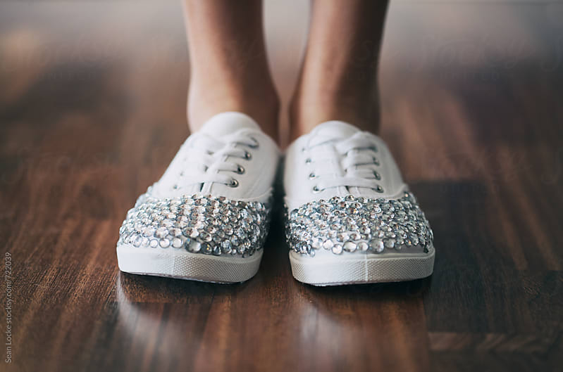 Girl Wearing Sparkly Shoes With Rhinestones by Sean Locke for Stocksy United