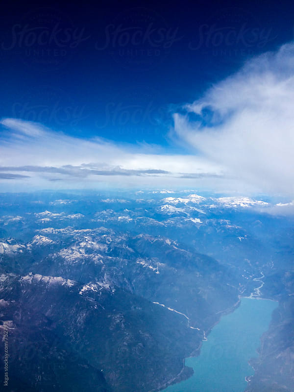 Beautiful lake and mountains as seen from the air. by kkgas for Stocksy United