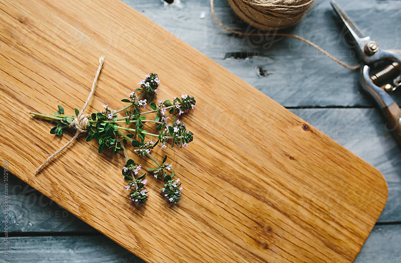Flowering Thyme on a wooden board by Helen Rushbrook for Stocksy United
