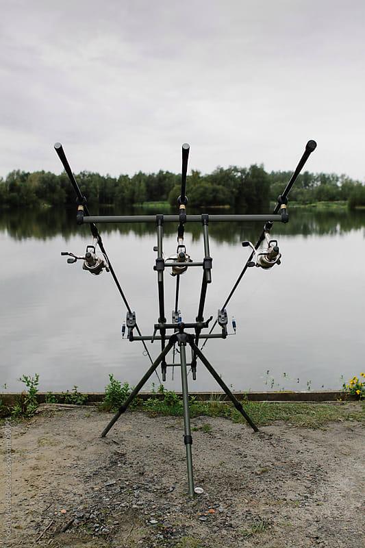 Fishing gear at a lake in Belgium. by Koen Meershoek for Stocksy United