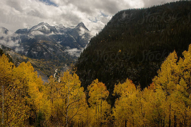 Autumn leaves with dramaic mountains and first snow by Mick Follari for Stocksy United
