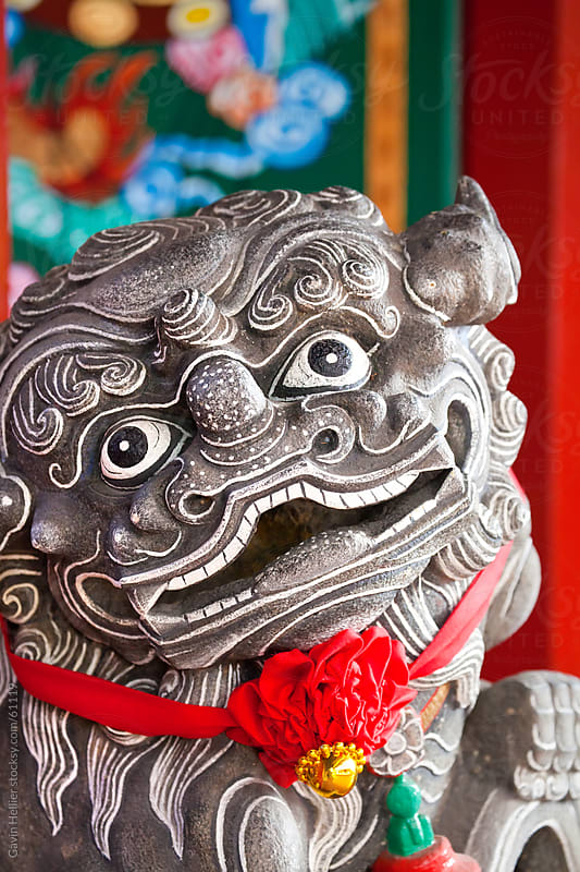 Detail of Chinese Temple lion statue, Chinatown, Singapore, South East Asia by Gavin Hellier for Stocksy United