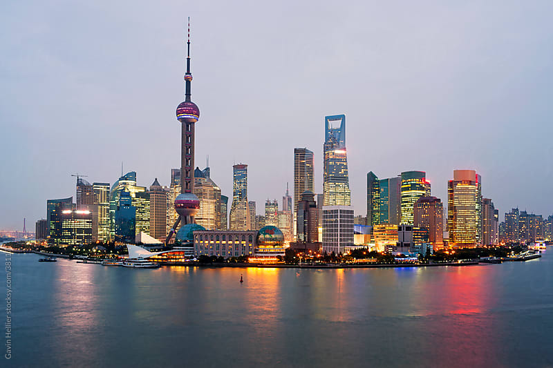Pudong skyline (elevated view across Huangpu River from the Bund), Shanghai, China by Gavin Hellier for Stocksy United