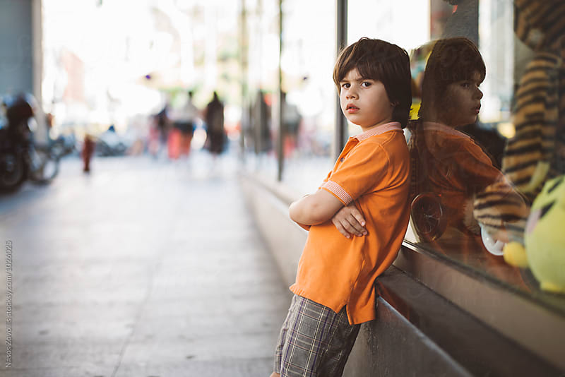 Portrait of a 5 year old boy outdoor  by Nasos Zovoilis for Stocksy United
