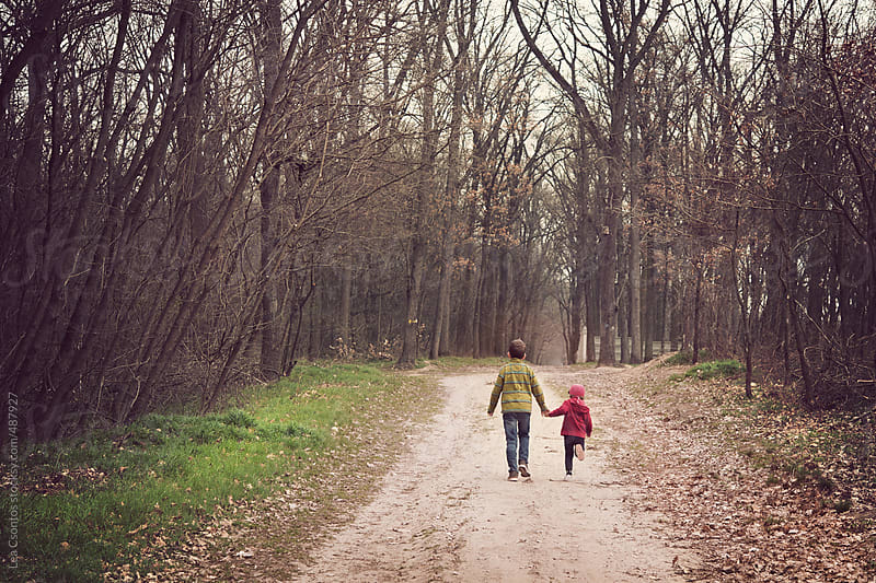 A brother and a young sister walking in a forest hand in hand photographed from behind. by Lea Csontos for Stocksy United