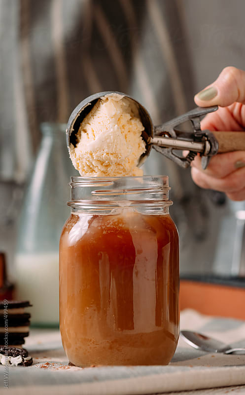 Making Iced Coffee: Ice Cream by Jeff Wasserman for Stocksy United