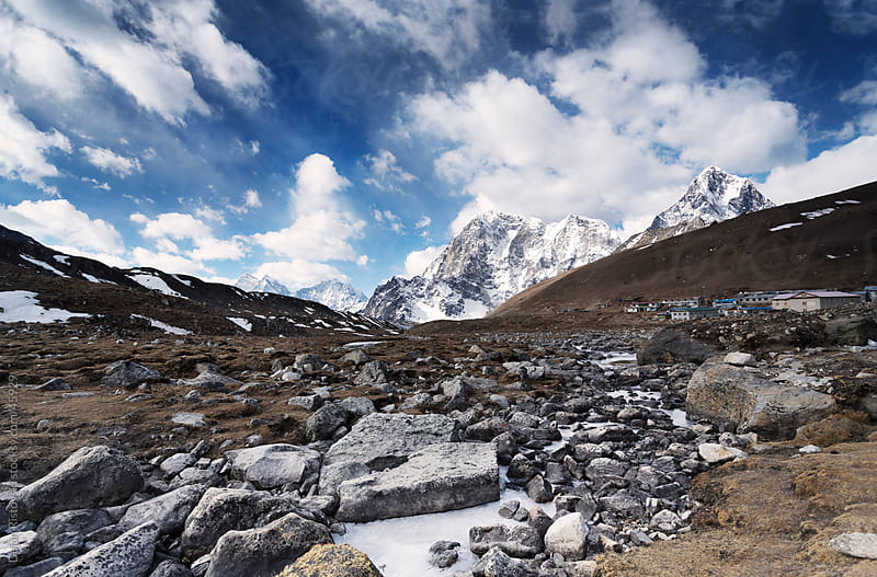 Himalaya landscape with Khumbu valley and Lobuche Village by Dejan Ristovski for Stocksy United