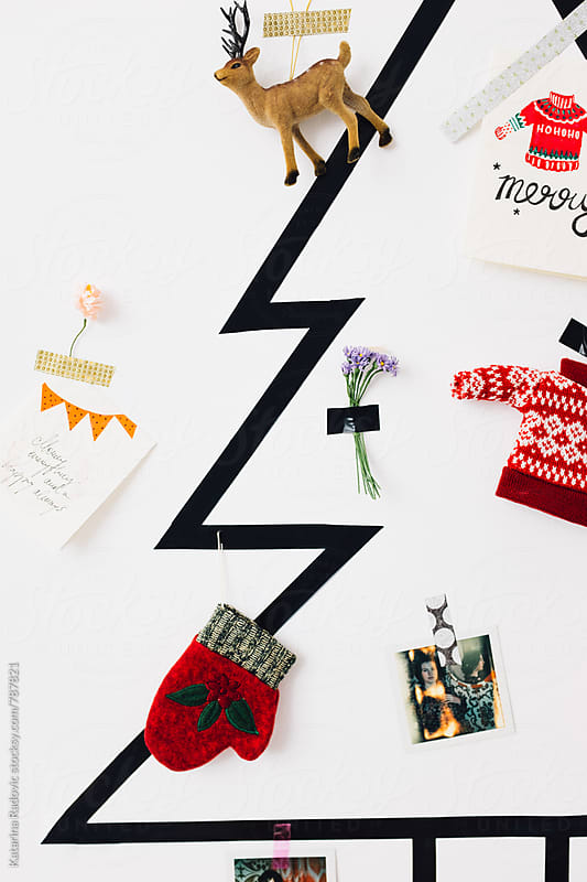 Simple DIY Christmas Tree on a White Wall by Katarina Radovic for Stocksy United