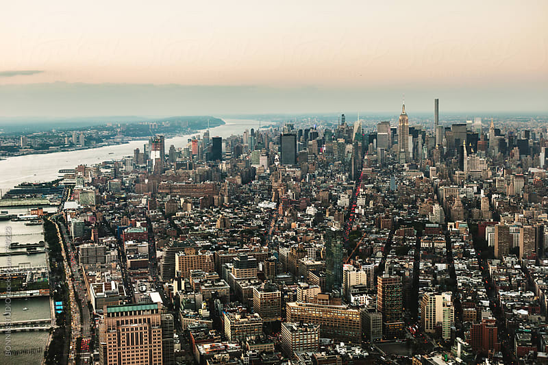 Aerial view of Manhattan. New York city. by BONNINSTUDIO for Stocksy United