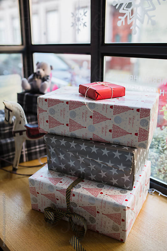 Wrapped Christmas gifts close up by Jovana Rikalo for Stocksy United