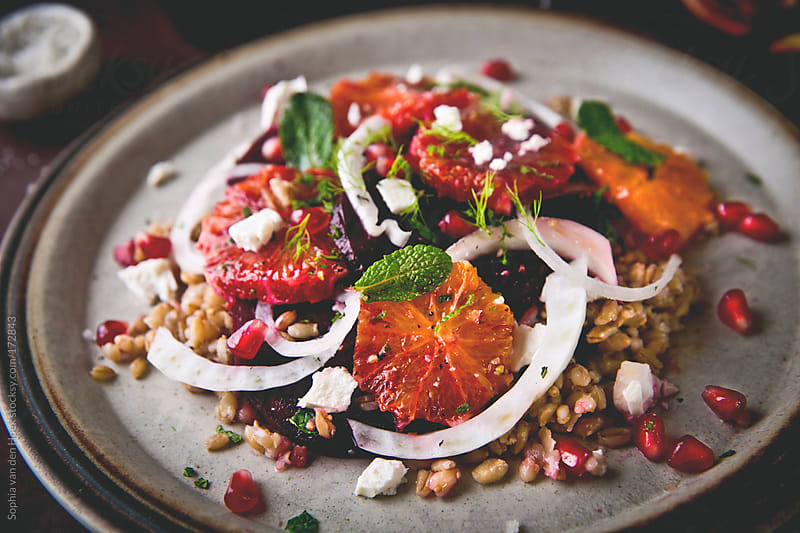 Blood orange beet fennel salad by Sophia van den Hoek for Stocksy United