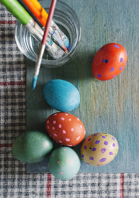 Colorful painted Easter eggs. by Darren Muir for Stocksy United