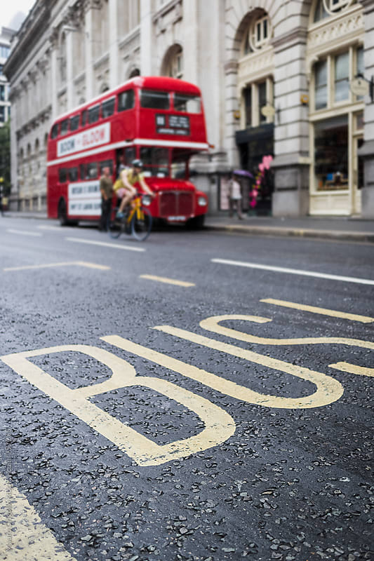 Red Bus Parked in London Streets by Mauro Grigollo for Stocksy United