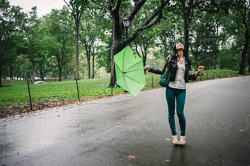 Enjoying the rain in Central Park, NYC by GIC for Stocksy United