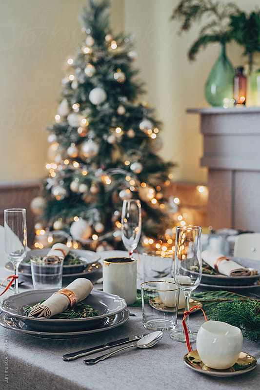 Beautifully Decorated Table for Christmas Dinner