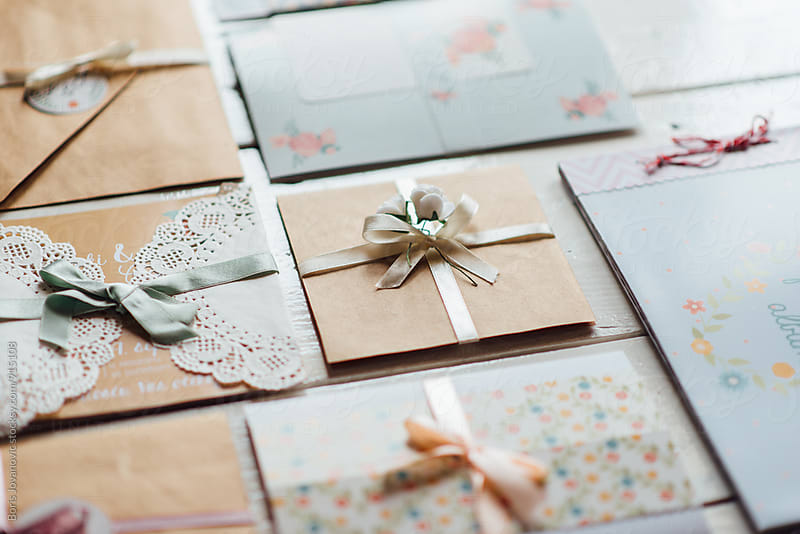 Carefully crafted wedding invitation cards by Boris Jovanovic for Stocksy United