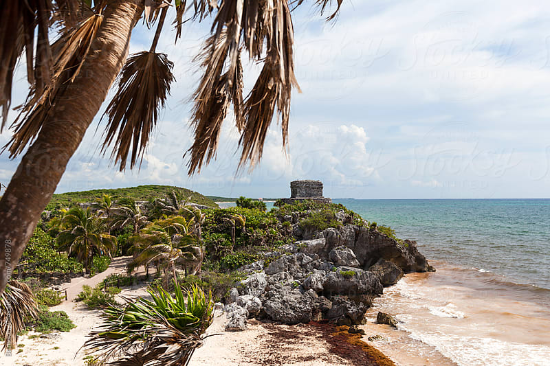 Mayan Ruins along the Caribbean Coast in Tulum Mexico by Brandon Alms for Stocksy United