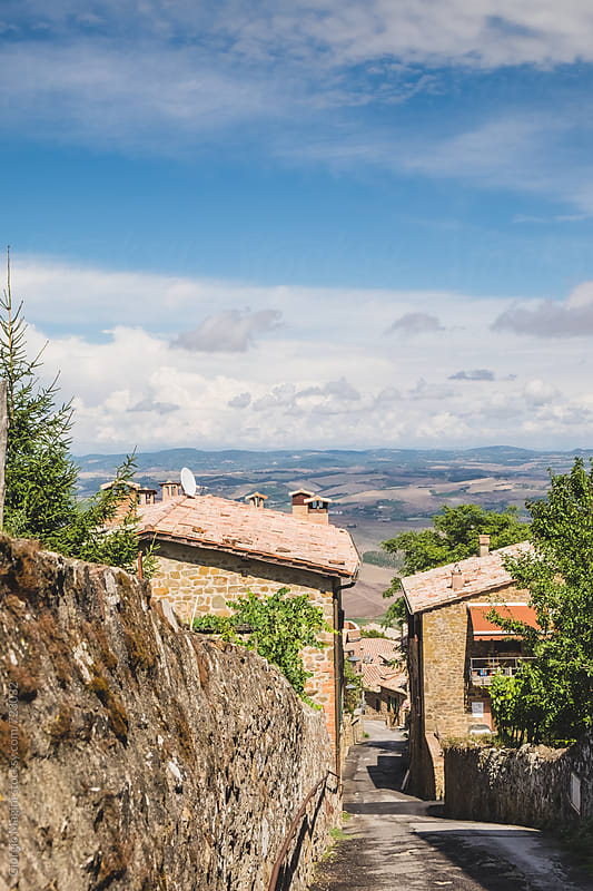 On top of a Steep Alley in Montalcino, Small Italian Town in Tuscany by Giorgio Magini for Stocksy United