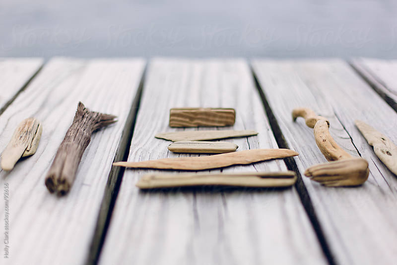 A collection of driftwood sitting on a dock with the lake in the by Holly Clark for Stocksy United