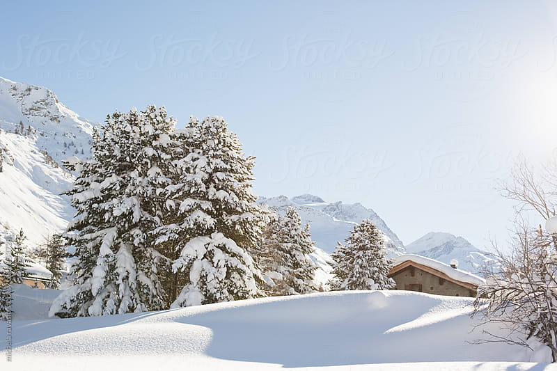 House covered by snow in the mountains by michela ravasio for Stocksy United