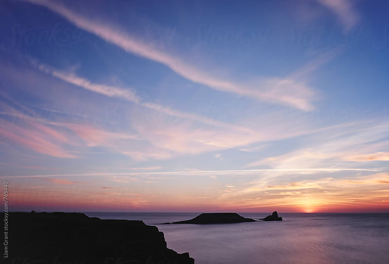 Worms Head at sunset. Wales, UK. by Liam Grant for Stocksy United