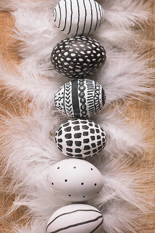 Easter eggs with different drawings and white feathers in row. by BONNINSTUDIO for Stocksy United