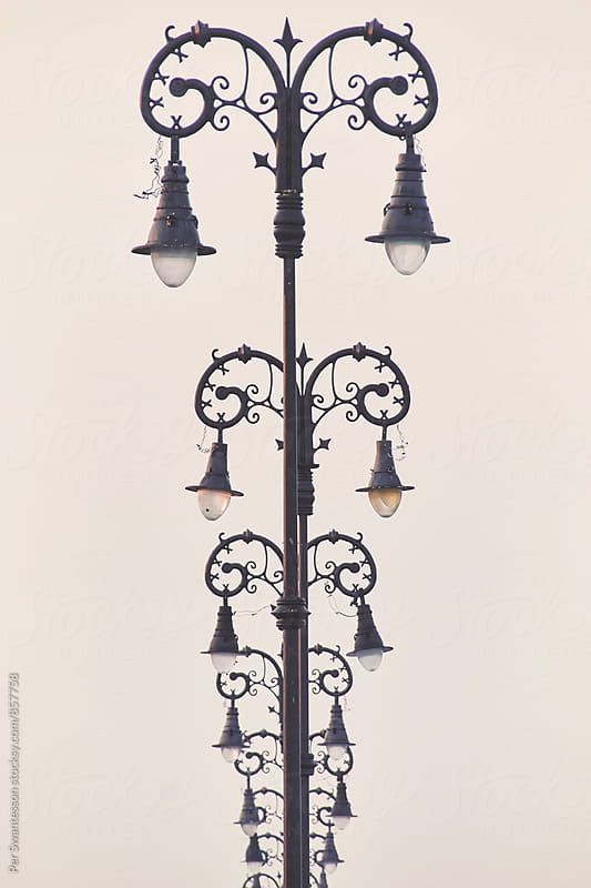 Old fashioned ornate lamp posts by Per Swantesson for Stocksy United