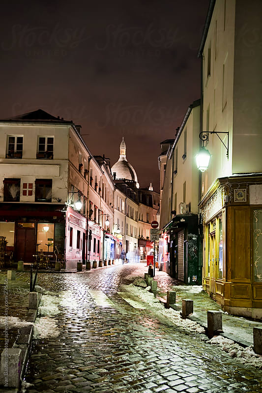 Montmartre in Paris at night by Ivan Bastien for Stocksy United