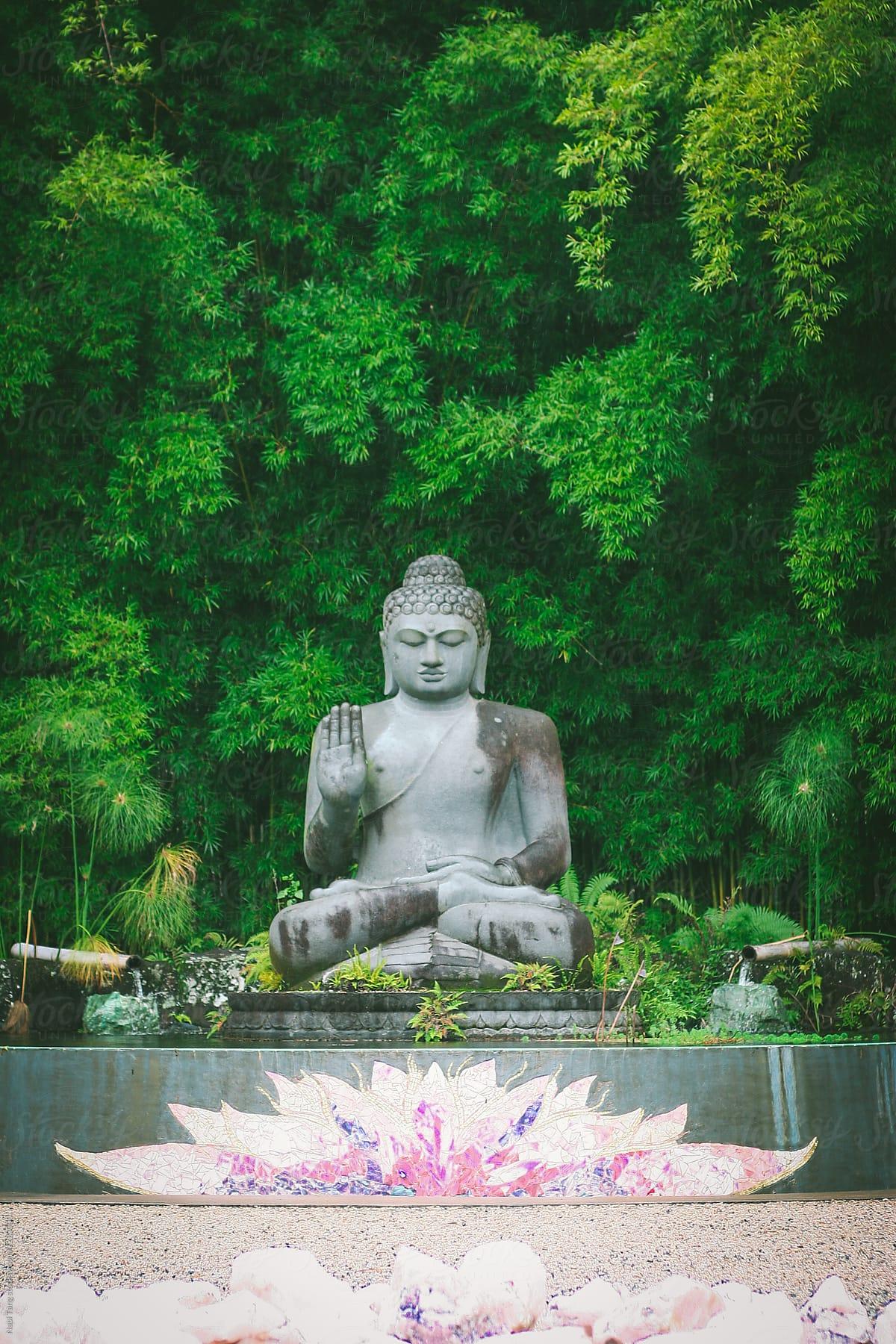 Buddha Statue In Zen Meditation Garden By Nabi Tang Buddha Zen