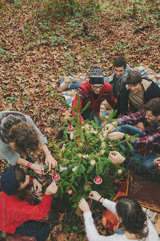 Friends Preparing Christmas Tree by HEX. for Stocksy United
