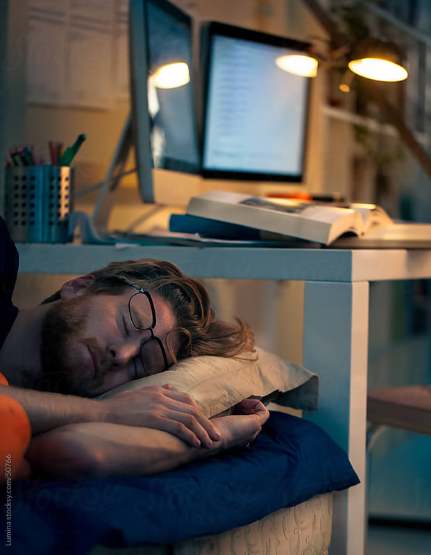 College Student Sleeping after Studying by Lumina for Stocksy United