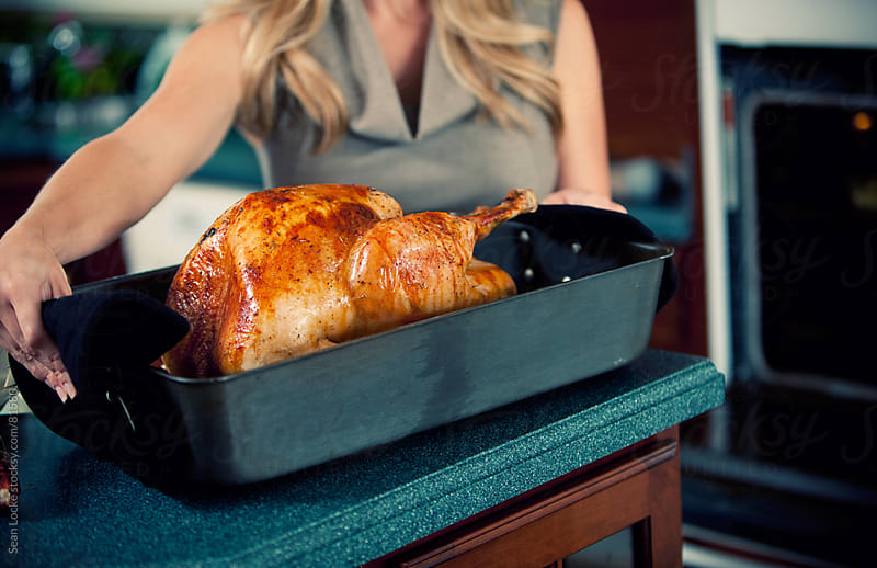 Thanksgiving: Roast Turkey Comes Out Of The Oven by Sean Locke for Stocksy United