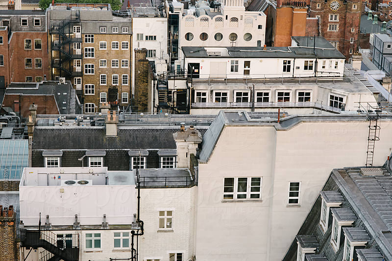 Overhead image of buildings in London by Kirstin Mckee for Stocksy United