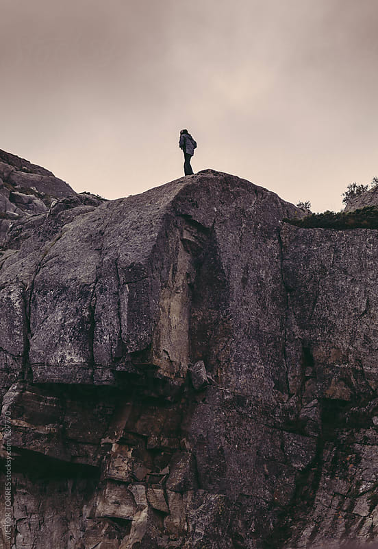 Trekking in the Preikestolen by VICTOR TORRES for Stocksy United