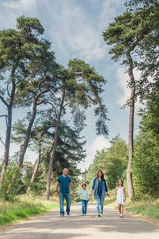 Family of four holding hands and walking on a road in the forest by Cindy Prins for Stocksy United