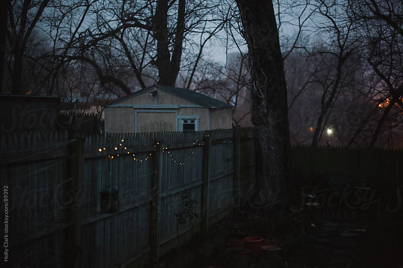 Twinkle lights strung along a fence in a city garden. by Holly Clark for Stocksy United