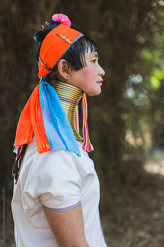 Lifestyle portrait of a Long Neck Tribal woman, Thailand. by Mauro Grigollo for Stocksy United