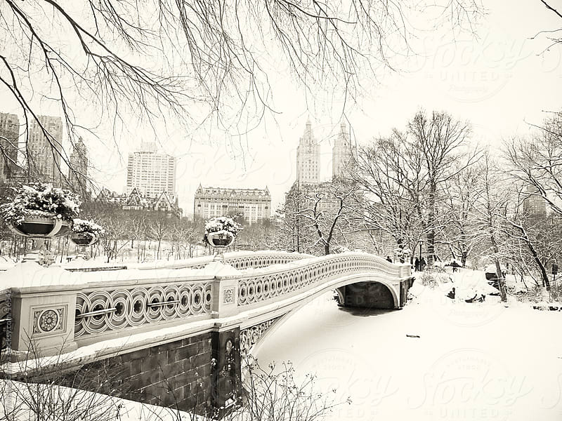Central Park Winter - Snowy Bridge and Skyline by Vivienne Gucwa for Stocksy United