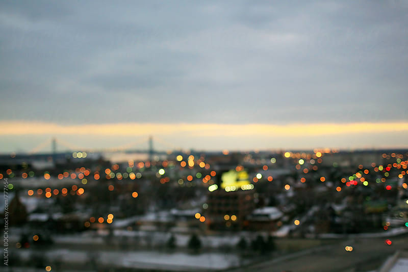 Abstract City Lights Of Detroit And The Ambassador Bridge On A Winter's Night by ALICIA BOCK for Stocksy United