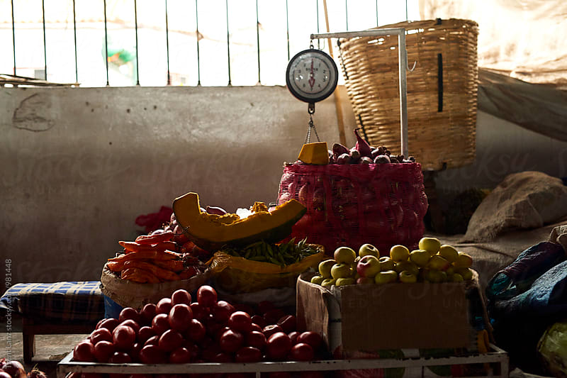 Fresh fruits and vegetables at market in Peru by Trent Lanz for Stocksy United