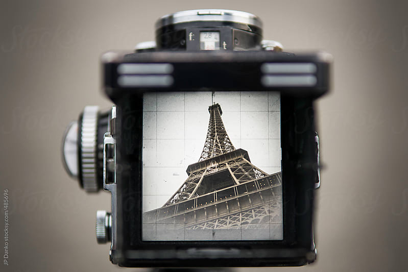 Vintage Film Medium Format Camera Photographing Eiffel Tower Paris by JP Danko for Stocksy United