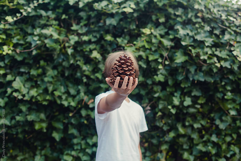 Boy holding a big pinecone in front of his head by Cindy Prins for Stocksy United