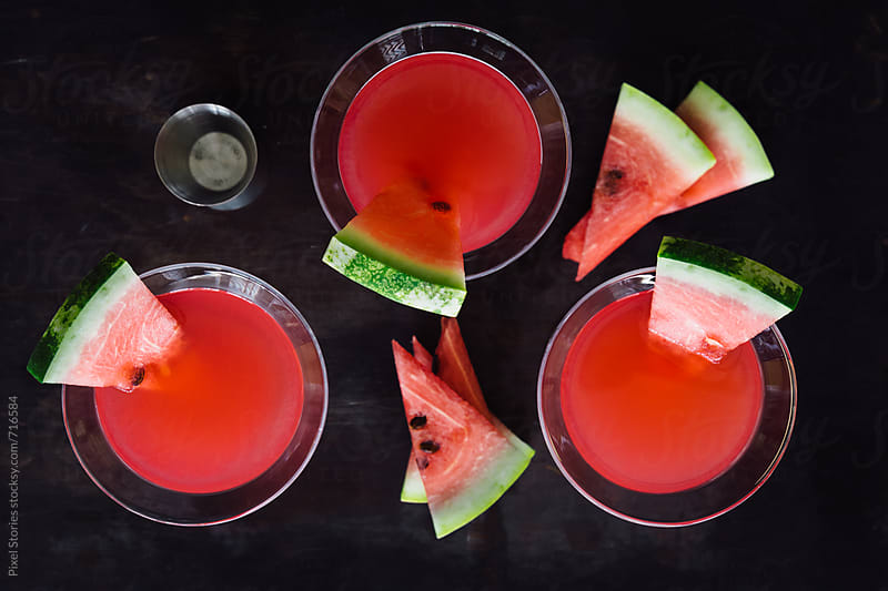 Watermelon vodka martini cocktail by Pixel Stories for Stocksy United