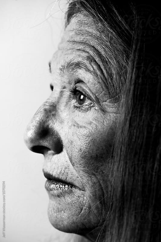 Profile Portrair of Senior Woman Portrait in Black and White by Jeff Wasserman for Stocksy United
