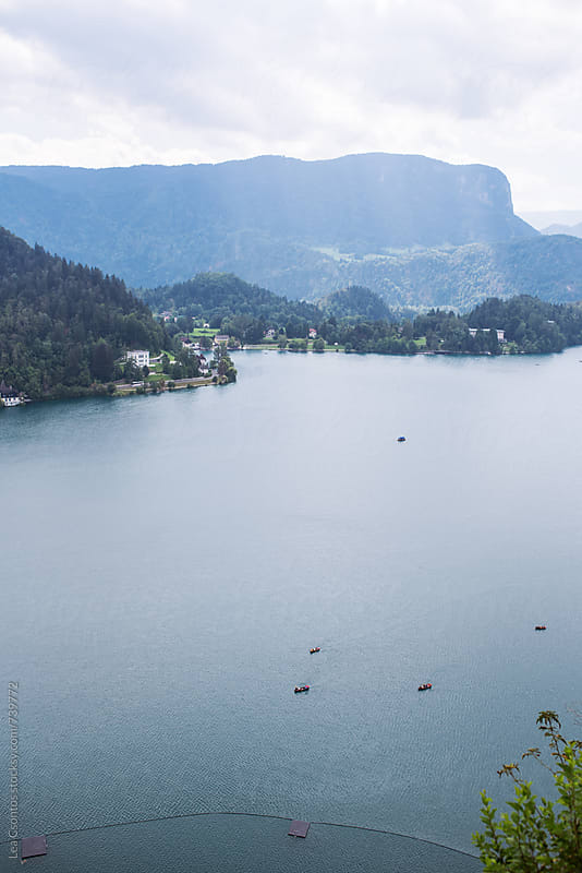 View of Lake Bled from Bled Castle by Lea Csontos for Stocksy United