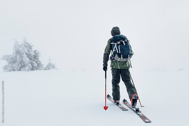 Skier ski touring through the frozen trees by Jordi Rulló for Stocksy United